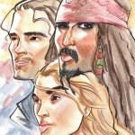 "Caricature of Orlando Bloom, Kiera Knightley, and Johnny Depp from ""Pirates of the Caribbean."""