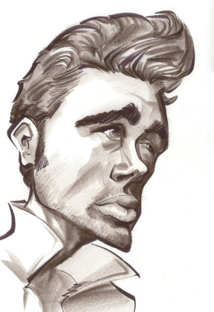 caricature of James Dean by Tielman Cheaney