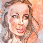 caricature of Angelina Jolie