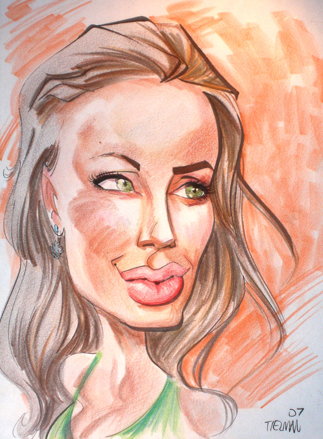 A caricature of Angelina Jolie by artist Tielman Cheaney