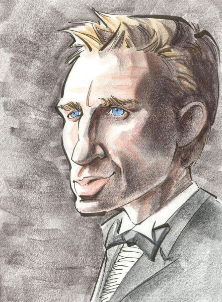 A caricature of Daniel Craig