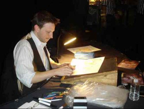 Me, drawing at an MGM Grand Superbowl party