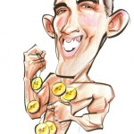 Cartoon of swimmer Michael Phelps