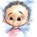 A caricature of a really cute baby.