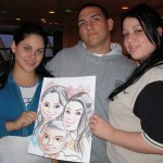 Three people holding their caricature