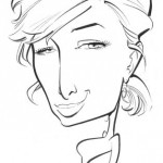Simple line caricature of Paris Hilton