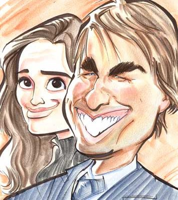 A caricature of Tom Cruise and Katie Holmes