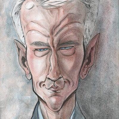 A caricature of Anderson Cooper by Celeste Cordova
