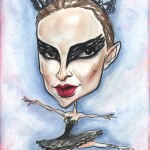 Caricature of Natalie Portman as the black swan