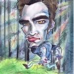 Caricature of Robert Pattinson as Edward Cullen