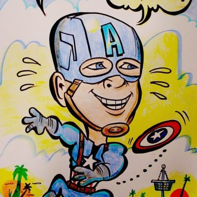 A caricature of Chris Evans as Captain America by Mike Warden