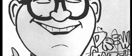 A caricature of Drew Carey by Mike Warden