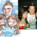 A caricature of Krista Roberts and friends