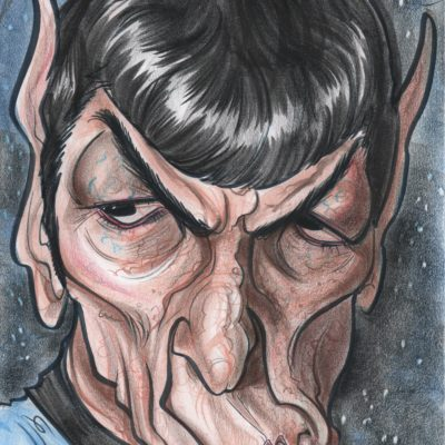 A caricature by Celeste Cordova of Leonard Nimoy as Spock