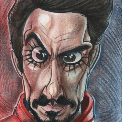 A caricature of Robert Downey Jr. as Tony Stark, Iron Man
