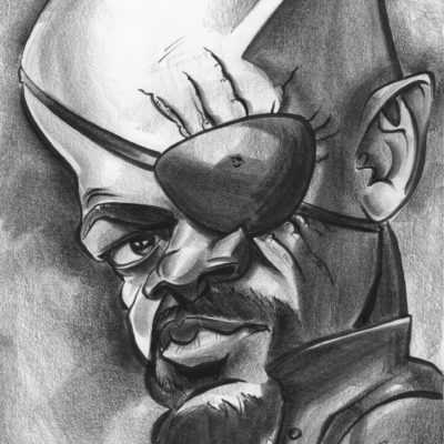 Dominique Chavira draws a caricature of Samuel L Jackson as Nick Fury