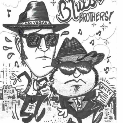 cartoon of the blues brothers by mike warden