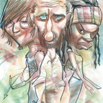 caricature of the walking dead's rick, daryl, and michonne