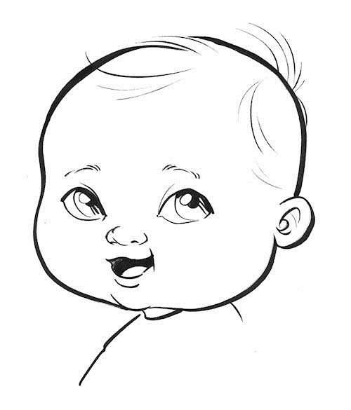 An average baby caricature