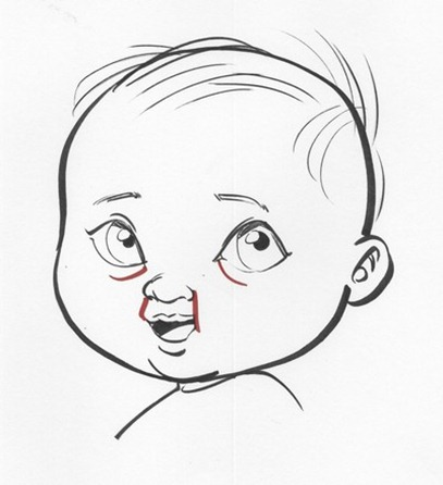 A bad drawing of a baby with chubby cheeks