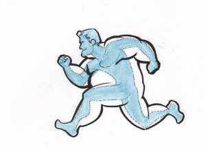a drawing of a fat man running with a thin man imposed over.