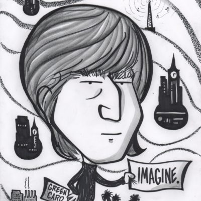 Caricature of John Lennon by Mike Warden