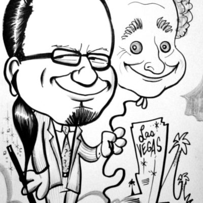 a caricature of comedy magicians Penn and Teller by Mike Warden